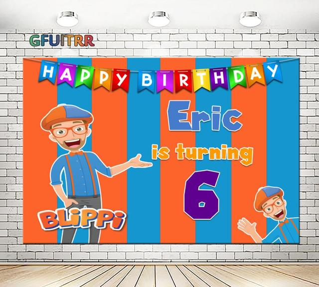 GFUITRR Youtube Blippi Banner Photography Backdrop Baby Shower Boy 1st Birthday Party Background Orange Blue Photo Booth Props