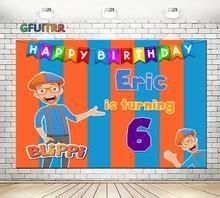 GFUITRR Youtube Blippi afiş fotoğraf Backdrop bebek duş çocuk 1st doğum günü partisi arka plan turuncu mavi fotoğraf kabini sahne