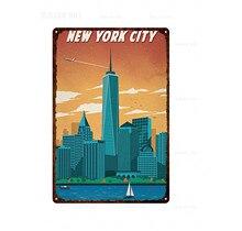 Retro City New York Classic Vintage  Tin Sign Metal Plate Iron Poster Wall Bar Pub Club Restaurant Home Art Craft custom Decor