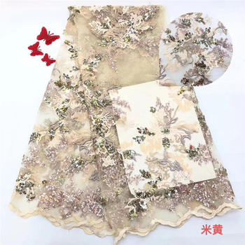 Nigerian Lace Fabric 2020 High Quality Sequin Tulle Lace Fabric Golden Embroidered Tulle African Lace Fabric 5 Yards