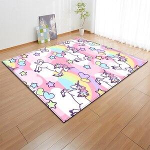 Image 3 - Alfombras de franela antideslizantes con dibujos de unicornios rosa para niños, tapete de juego para habitación de niñas, Alfombra de área decorativa, alfombra para sala de estar y alfombra