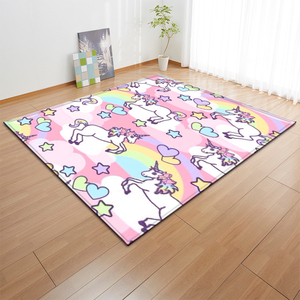 Image 3 - קריקטורה ורוד Unicorn שטיחים אנטי להחליק פלנל שטיחים ילדים לשחק מחצלת בנות חדר דקורטיבי אזור שטיח סלון שטיח ושטיח