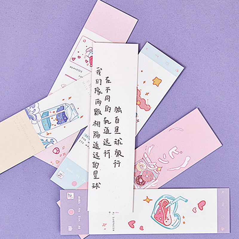 30Pcs/Box Cute Cloud Anime Bookmark Kawaii Cartoon Bookmarks Novelty Paper Book Marks For Kids Gifts School Supplies Stationery