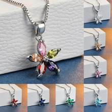 Simple Female Blue Crystal Pendant Necklace Cute Flower Chain Necklaces For Women Charm Bridal Rainbow Wedding Necklace