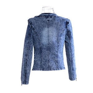 Image 2 - FMFSSOM 2020 New Arrival Spring Antumn Denim Jackets Vintage Diamonds Casual Coat Womens Denim Jacket For Outerwear Jeans