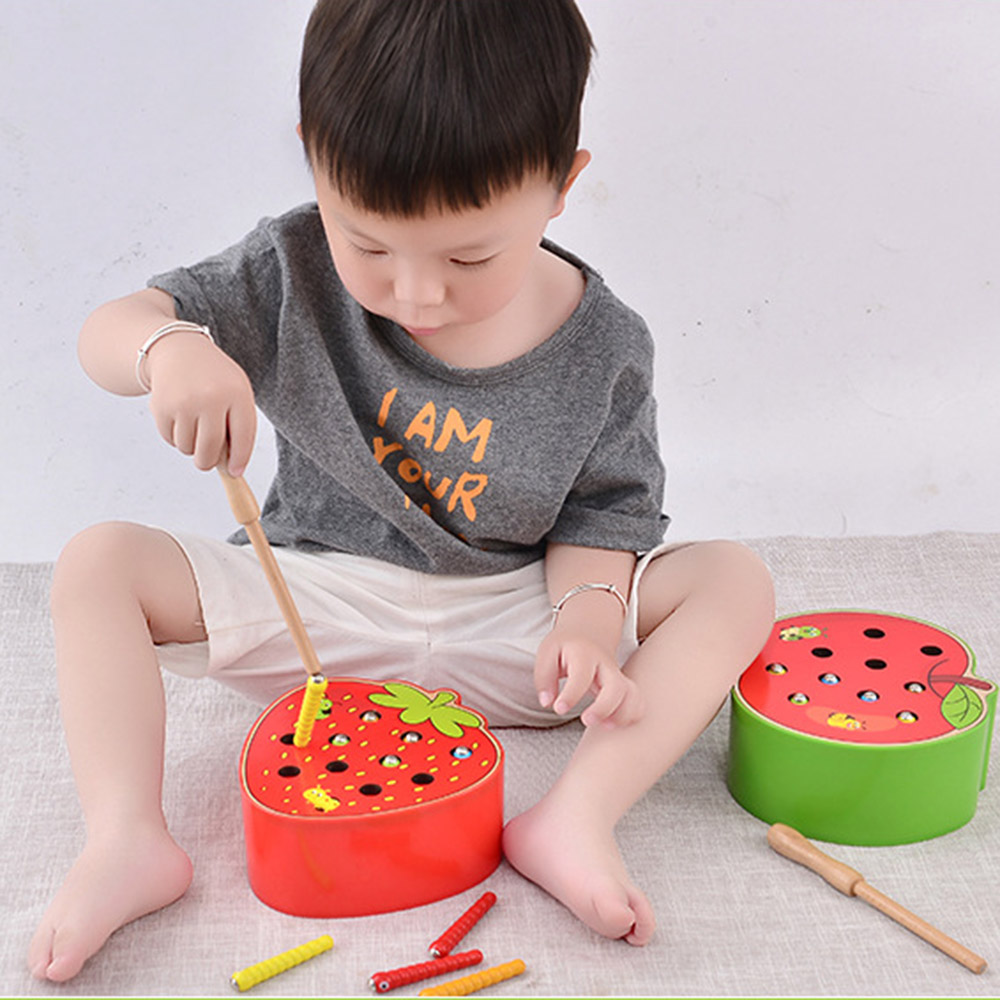 3D Baby Wooden Toy Early Learning Educational Toy Worm Catch Color Cognitive Game Strawberry Capturing Fun Ability