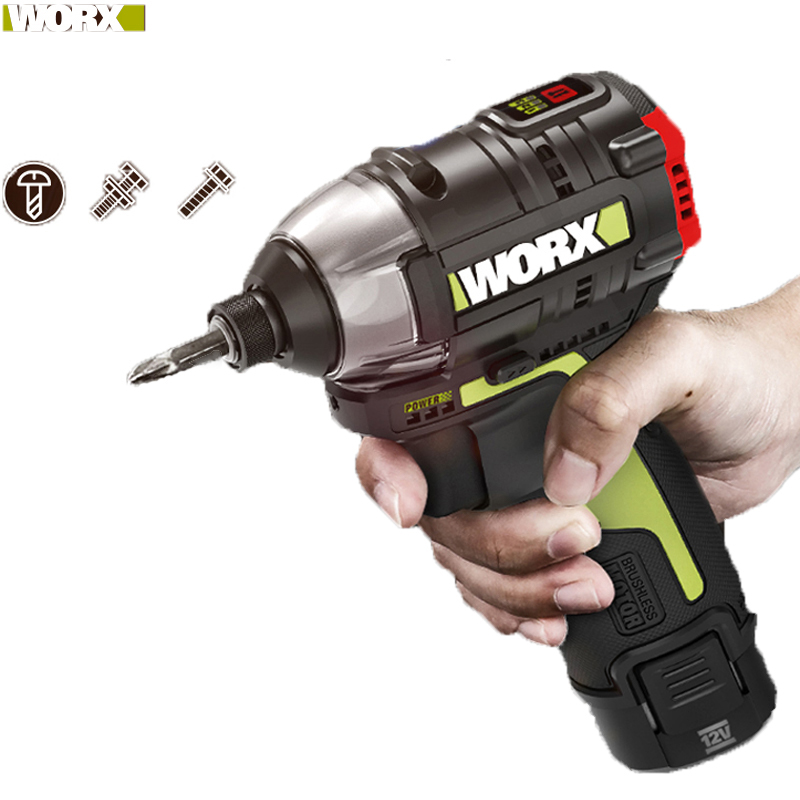 Worx 12v Brushless Motor Cordless Impact Screwdriver WU132 140Nm Adjust Torque Professional Tool With 2Battery And 1Charger