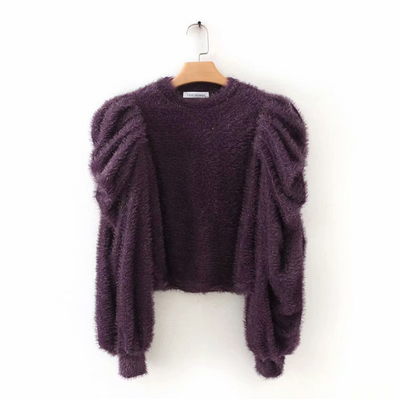 2020 Women Fashion Pleats Puff Sleeve Wool Spinning Sweater Ladies Basic Knitted Casual Slim High Street Sweaters Chic Tops S225