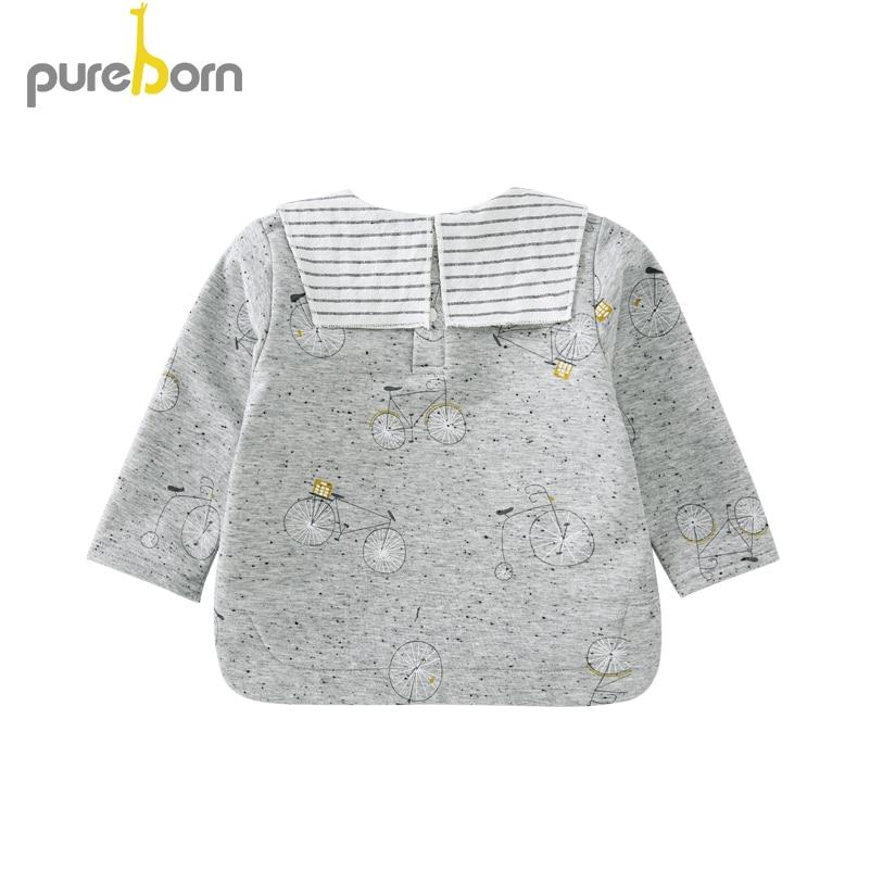 Pureborn Toddler Top T-shirt Collar Long Sleeve Cartoon T-shirt Newborn Baby Boys Girls Clothes Spring Autumn 2