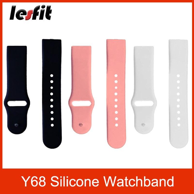 Lesfit Y68 Waterproof Silicone Smart Watch Strap Universal Men's Watchband Pink Strap Women Watchband