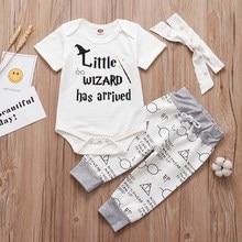 2021 novo bebê infantil conjunto de roupas pequeno feiticeiro chegou outfit macacão + calças chapéu 3 pçs roupa do bebê outfit