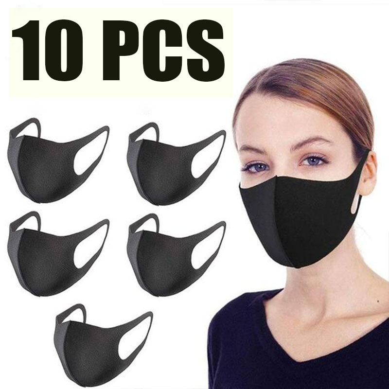 10 Pcs Face Mouth Mask Black Anti-Infection Virus Mouthmask For Unisex Anti-dust Mouth Facemask Breath Straps Washable Reusable