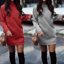 Осенне зимнее плотное прямое платье свитер 2020 винтажный Повседневный