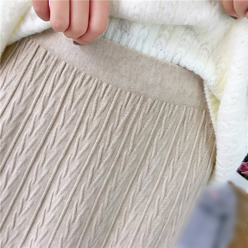 Women Autumn Winter Skirts Korean Style Elegant Solid Color Slim Mid-Length Knitted Skirt 2020 New Arrivals