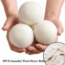 3 sztuk kulki do suszenia wełny naturalna tkanina wielokrotnego użytku do zmiękczania pranie 5cm kula do prania domu kulki do prania kulki do suszenia wełny tanie tanio CN (pochodzenie) KJYMGZQ Czyszczenie Wool About 5cm White