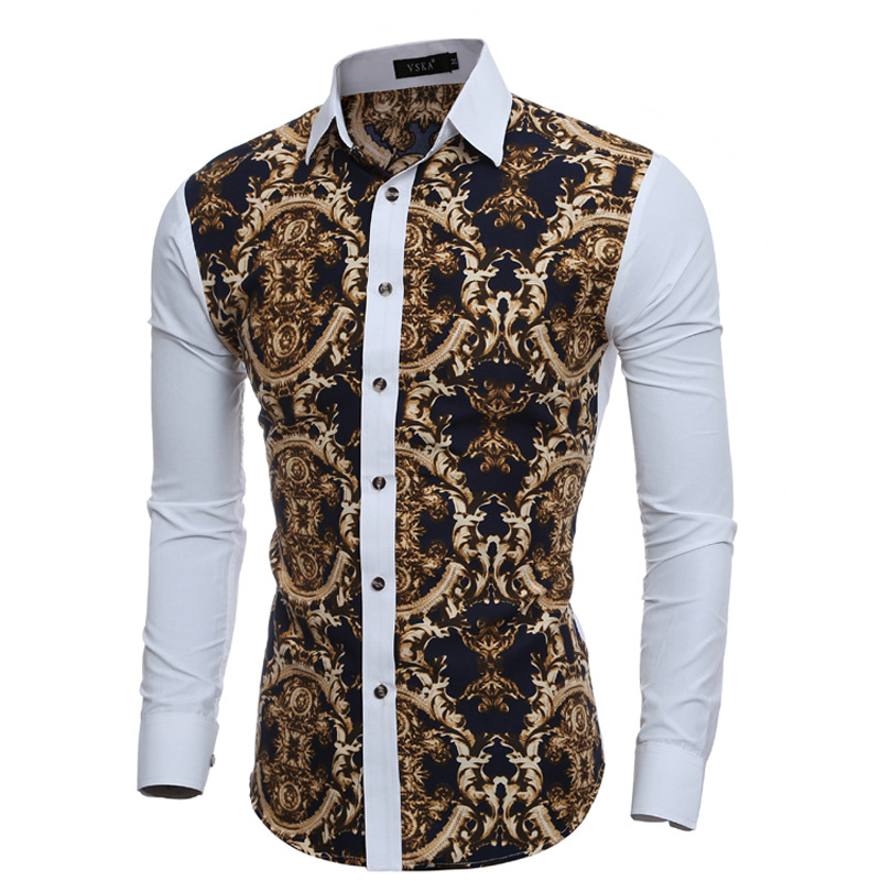 2019 Autumn And Winter 3D Retro Printed Fashion Casual Long Sleeve Joint Shirt Floral Contrast Color Long Sleeve MEN'S Shirt