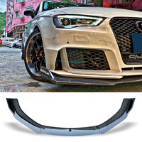 Front Bumper Spoiler Protector Plate Lip Body Kit Carbon Surface Car Decorative Strip Chin Shovel For Audi RS3 A3 S3 2016 2017