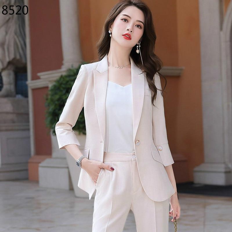 Korean Slim Elegant Women's Suit Set Solid Business Blazer Trouser Pant  Spring Summer Formal Suits 2 Piece Work Wear Office Sets|Women's Sets| -  AliExpress
