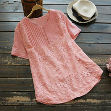 Summer Tunic Tops 2019 Embroidery Womens Blouse Female Elegant Patchwork Lace Work Blusas  Short Sleeve Shirt Chemise