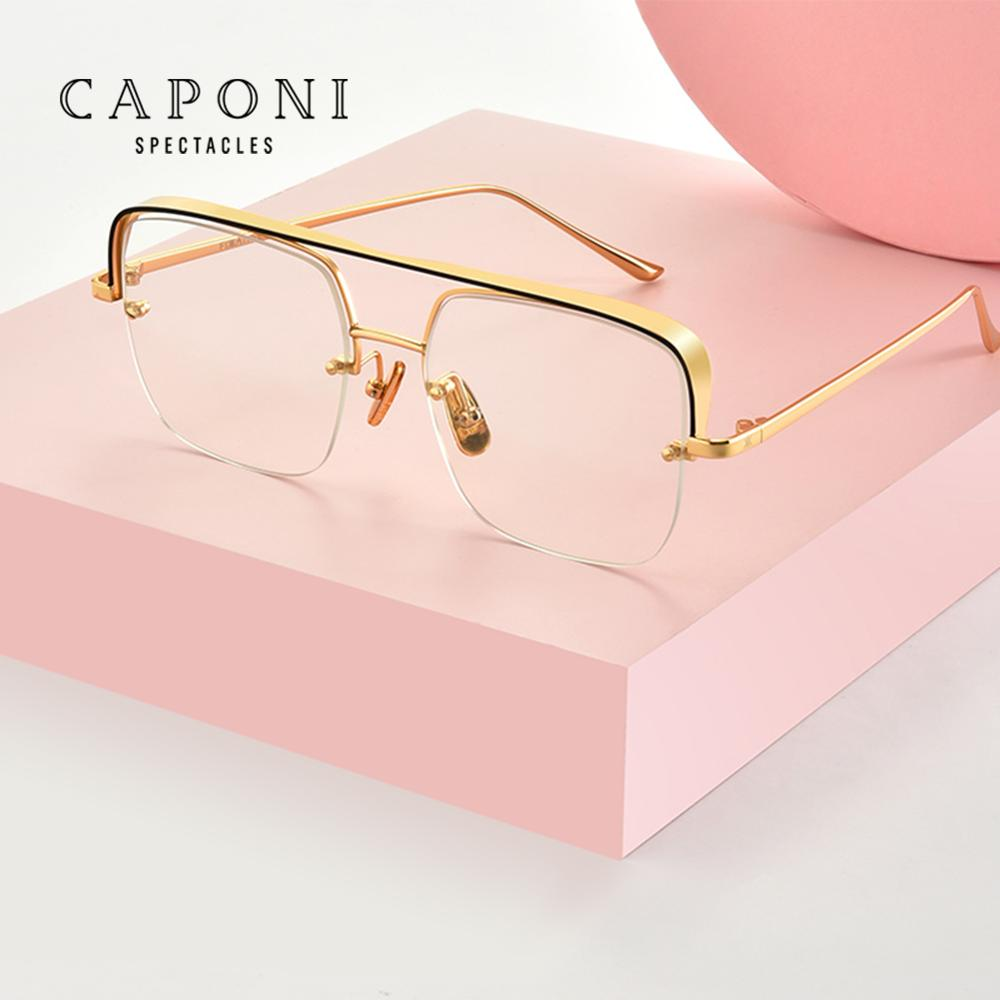 CAPONI Fashion Glasses Frame For Women Top Metal Square Oversized Eyeglasses Designer Brand Spectacle Optical Glasses Men J8576