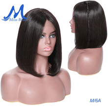 Missblue 13x4 Short Lace Front Human Hair Wigs For Black Women Middle Ratio 8 16 Brazilian Remy Hair Bob Wig Natural Color 130%