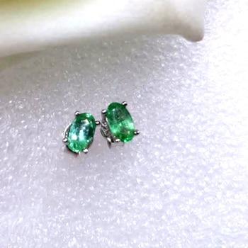 3*5mm Natürliche Smaragd ohrringe frauen grün edelstein schmuck Kosten-effektive sterling silber 925 stud ohrringe
