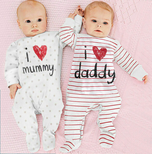 Newborn Baby Boy Girls Striped I LOVE MUMMY Sleepsuit Babygrows