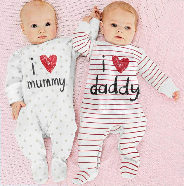 Newborn Baby Boy Girls Striped I LOVE MUMMY Sleepsuit Babygrows