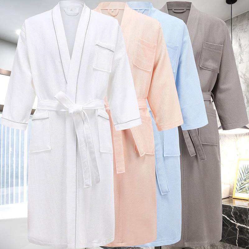Women Cotton Bath Robe Dressing Gown Soft  Loose Plain Pajamas Bathrobe Plain I1
