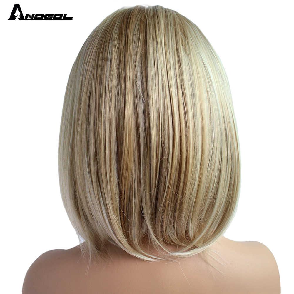 Anogol wysokiej temperatury włókna Perruque Peruca krótkie proste Bob peruki czarny Ombre biały blond peruka syntetyczna dla kobiet kostium