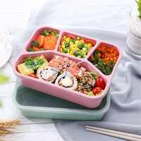 Paglia di grano Scatola di Pranzo Bento Box Portatile Quattro Griglia Scatola di Fast Food Per Forno A Microonde Piatti e Posateria Contenitore di Conservazione Degli Alimenti Foodbox