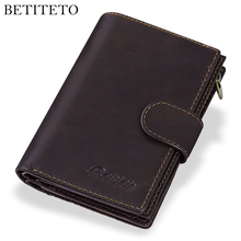 Betiteto Genuine Leather Mens Passport Cover Wallet Large Capacity Passport Holder Coin Purse Men Organizer Wallets Card Holder