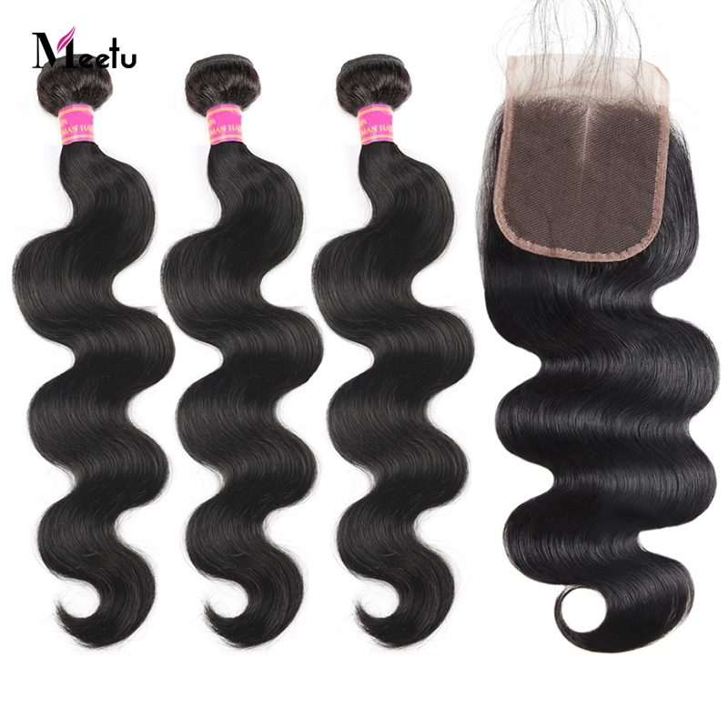 Meetu Body Wave Bundles With 5x5 Closure Inch Peruvian Hair Bundles With Closure 100% Human Hair Bundles With Closure Non Remy