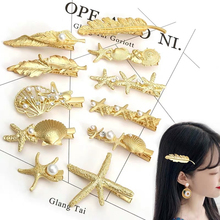 Fashion Elegant Metal Leaf Shape Hair Clip Barrettes Crystal Pearl Hairpin Barrette Color Feather Claws Styling Tool