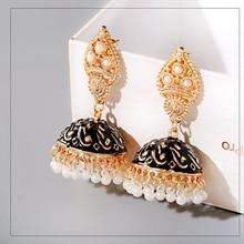 Boho Indian Jhumka Earrings Egypt Thailand White Pearl Bead Tassel Golden Carved Drop Dangle Earrings For Women Wedding Jewelry