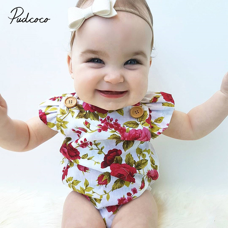 2019 Cute Floral   Romper   2pcs Baby Girls Clothes Jumpsuit   Romper  +Headband 0-24M Age Ifant Toddler Newborn Outfits Set Hot Sale