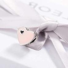 CodeMonkey 100% 925 Sterling Silver Pink Love Heart Charm fit Pandora Bracelet For Women Jewelry Gift Making C001