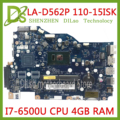 KEFU LA-D562P материнская плата для Lenovo 110-15isk  материнская плата для ноутбука  LA-D562P  I7-6500U  процессор  4 Гб  протестированная работа  100% оригинал