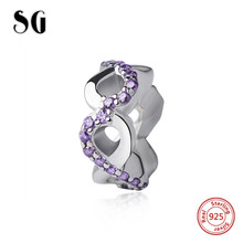 SG new arrival 925 silver beads lovely flower charms with clear CZ fit pandora bracelet original silver jewelry making for gift цена и фото