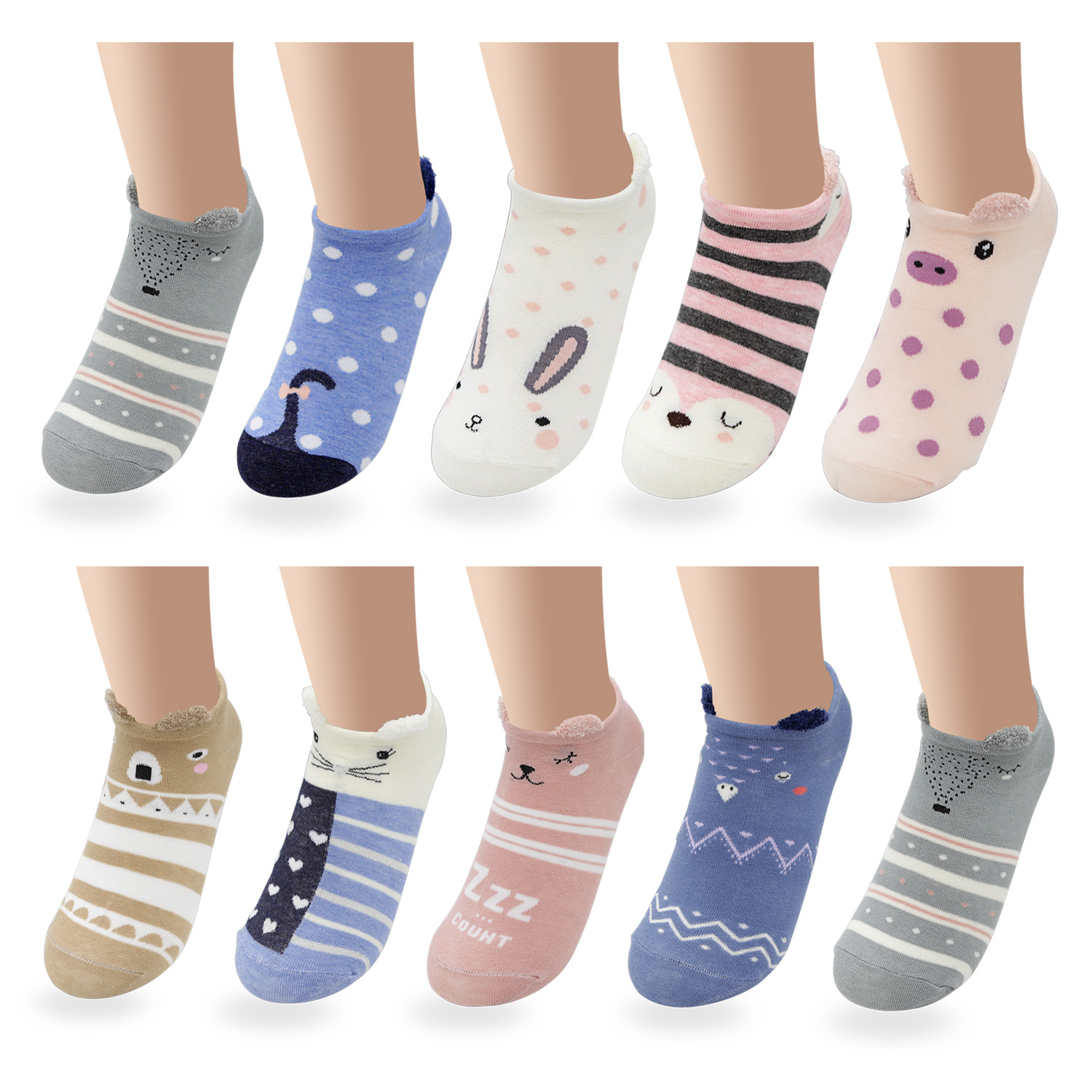 Cute Animal Cotton Socks Female Kawaii Summer Short Sock Slippers Women Casual Soft Funny Boat Socks