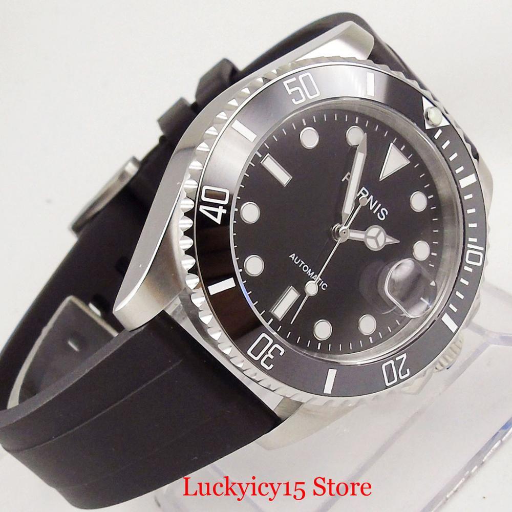 Parnis estilo de negócios prata 40mm relógio automático men sapphire vidro rotativo moldura mingzhu movimento cinta borracha - 3
