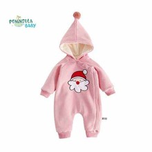2018 New Year Peninsula Baby Autumn Winter Long Sleeve Jumpsuits Boy Girl Hooded Christmas Rompers Unisex Clothing