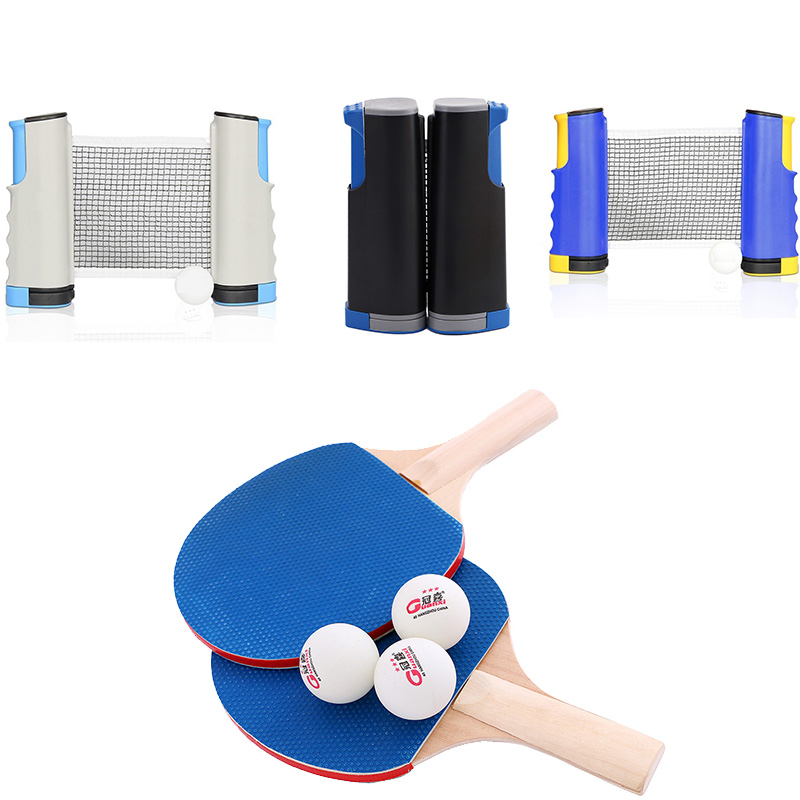 4 Types Professional Table Tennis Sports Trainning Set Racket Blade Mesh Net Ping Pong Student Sports Equipment Simple Portable