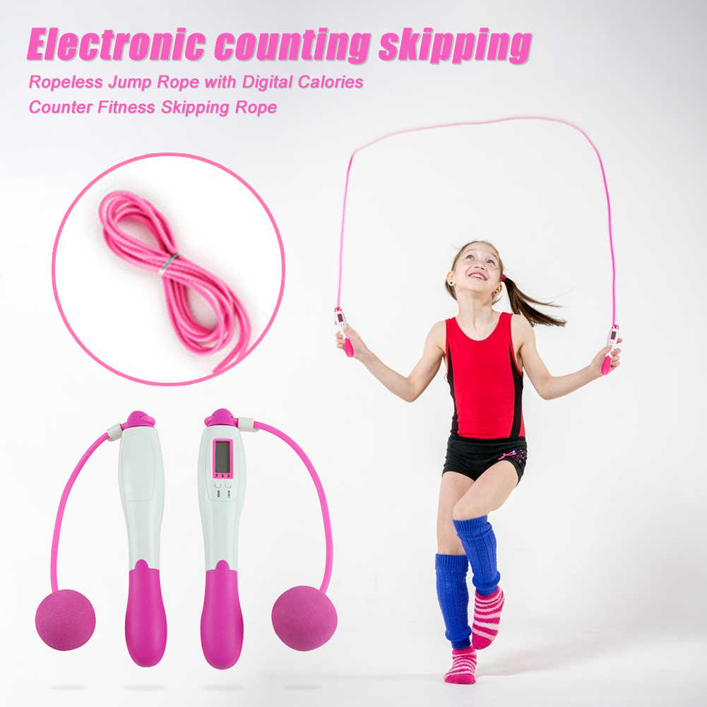 Wireless Short Rope Skipping Jumping Rope with Counter Timer Calorie Fat Burn