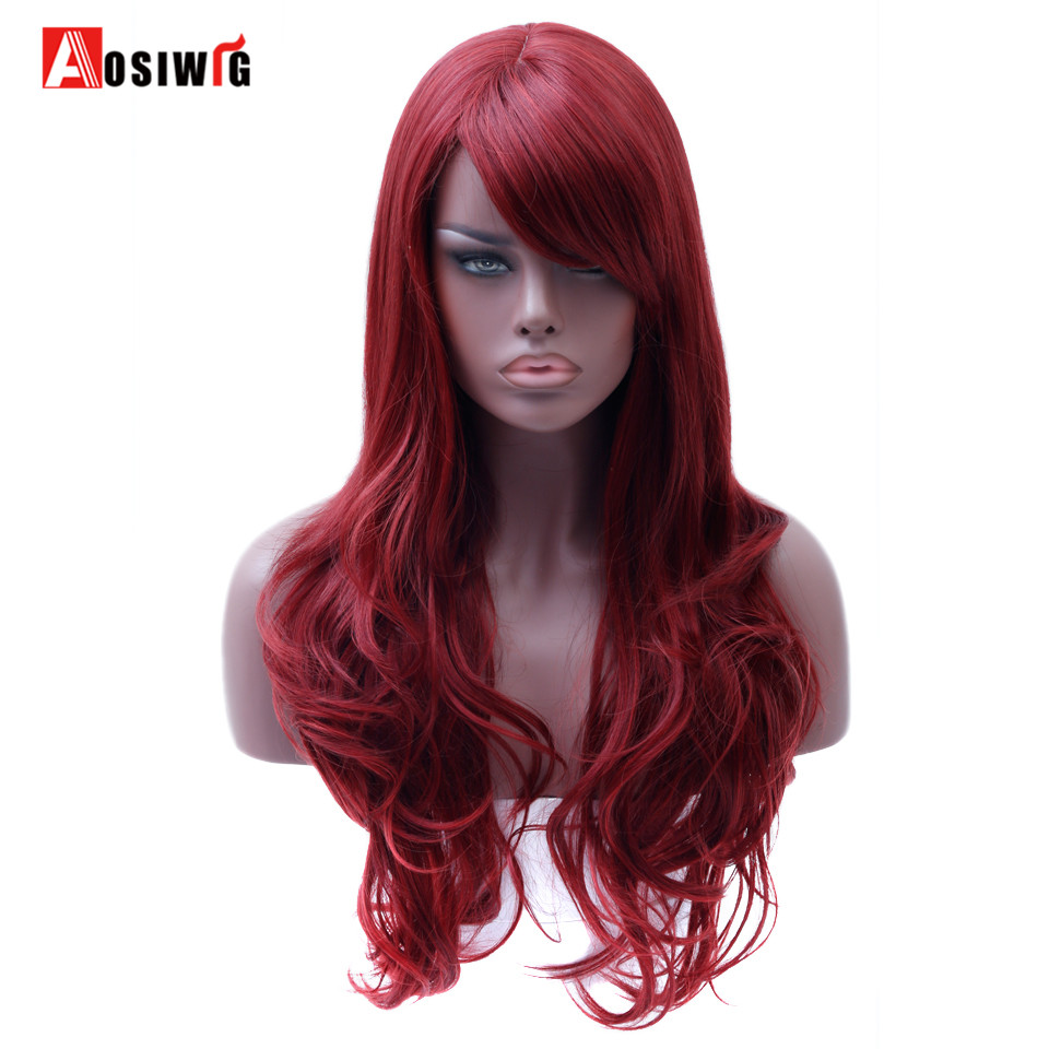 AOSIWIG Long Wavy Red Wig Womens Heat Resistant Synthetic Female Wigs For Women Fake Hair Pieces