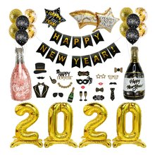 Weihnachten Supplies Folie Ballon Banner Glücklich Silvester Party Decor Sets(China)