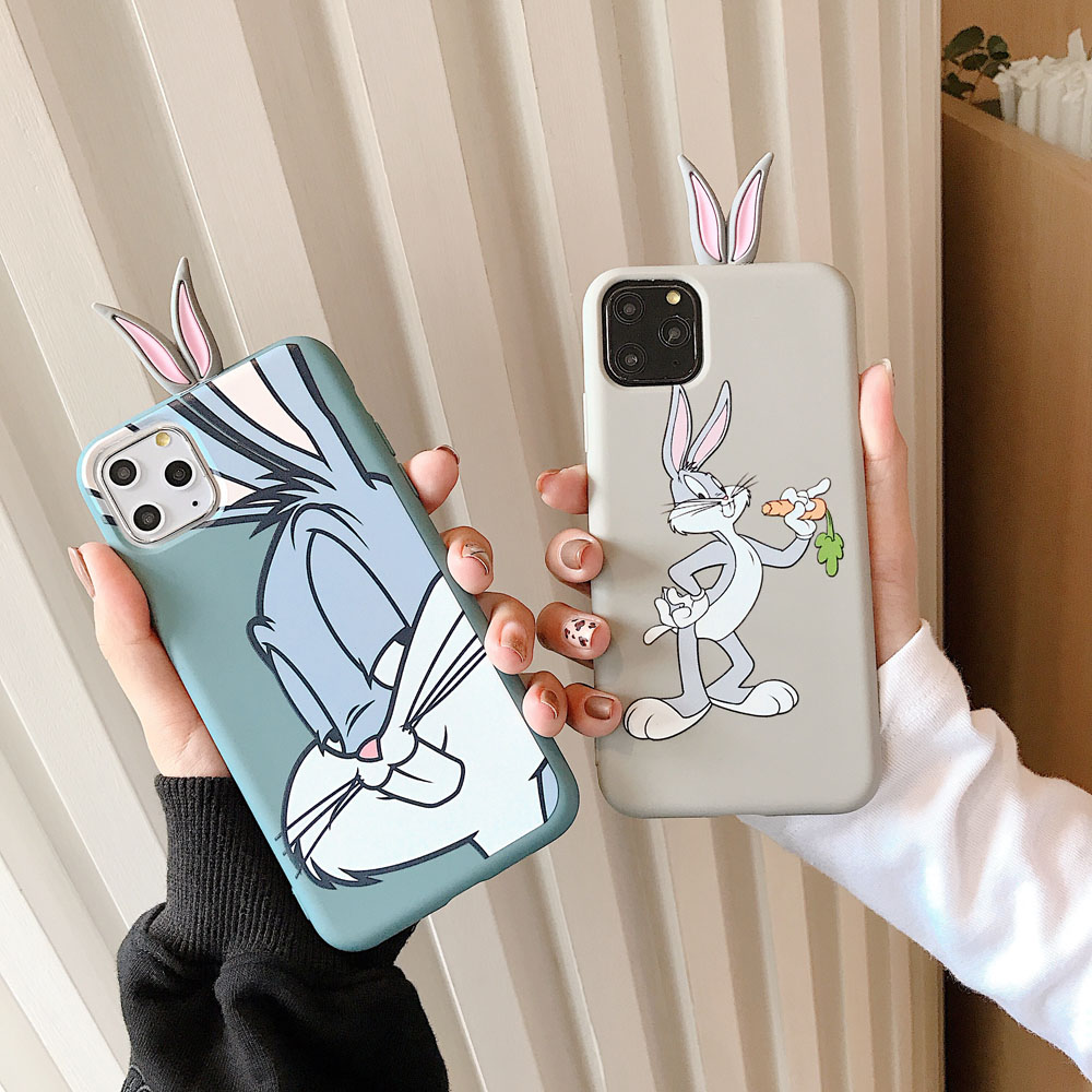 Cartoon Cute Rabbit Soft Liquid Case for OPPO A9 A9X F11 Realme C2 Realme 3 Realme 3 Pro A5 2020 A9 2020 A11 Silicone Back Cover image