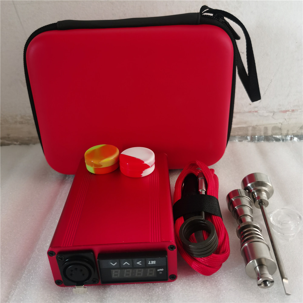 Best Christmas Gift Red Enail Dab Kit Electric Dab Nail Pen Rig Wax PID TC Box with 6 in 1 Hybrid Ti&Quartz Nail for Glass Bongs 2