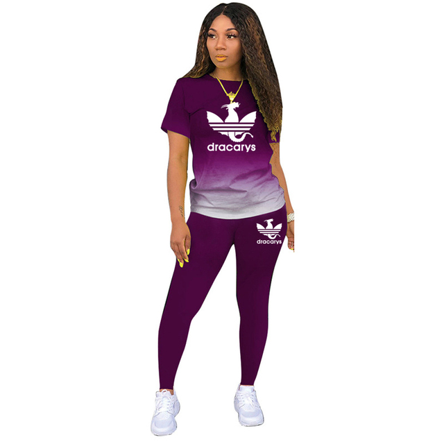 Tracksuits Women 2 Pieces Sets short Sleeve O-Neck Pullover Top Trousers Sportswear Sports Suit Female Clothes Spring 2021 New 6