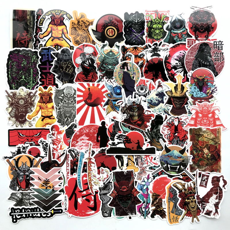 65pcs Japan Bushidou Warrior Stickers For Laptop PVC Graffiti Stickers Decal Suitcase Luggage Guitar Car For Children Toys F3